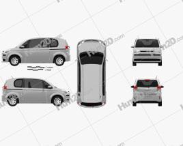 Toyota Spade 3-door hatchback 2012 car clipart