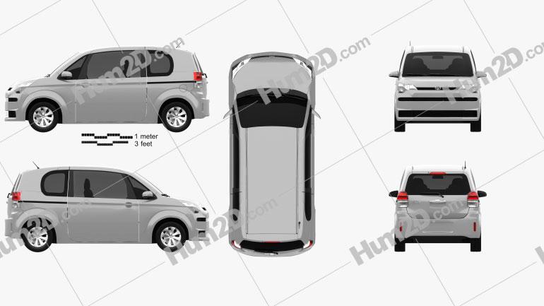 Toyota Spade 3-door hatchback 2012 Clipart Image