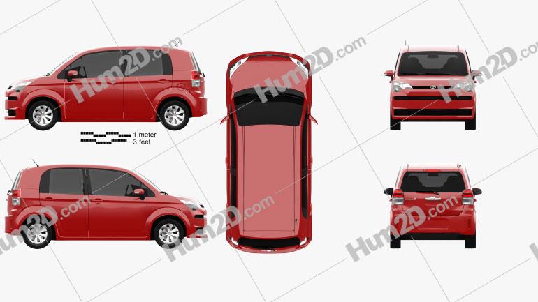 Toyota Spade 5-door hatchback 2012 Clipart Image