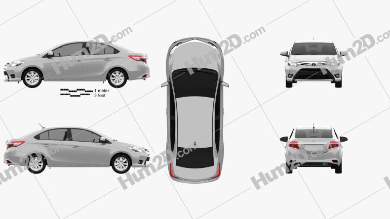 Toyota Yaris sedan 2014 Clipart Image