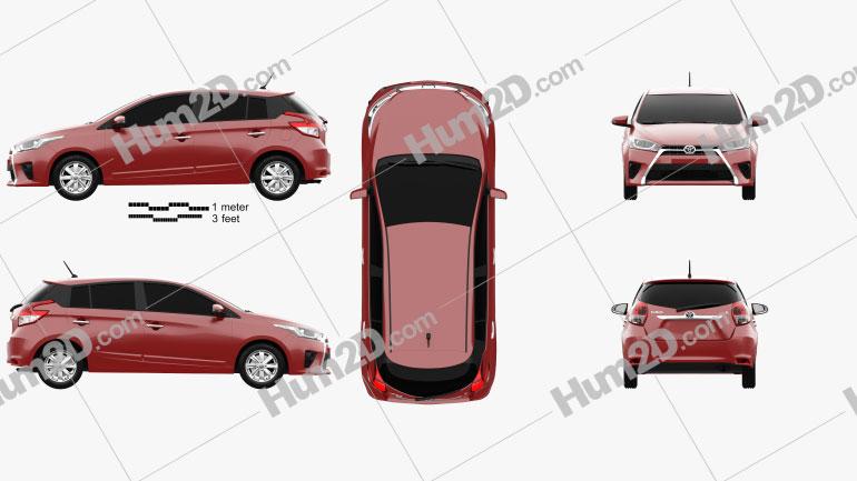 Toyota Yaris 5-door hatchback 2014 Clipart Image