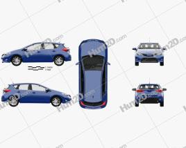 Toyota Auris hatchback 5-door with HQ interior 2013 car clipart