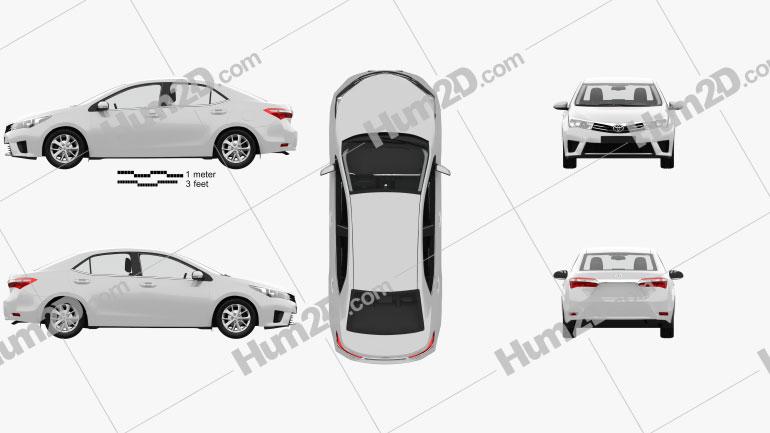 Toyota Corolla EU with HQ interior 2014 Clipart Image