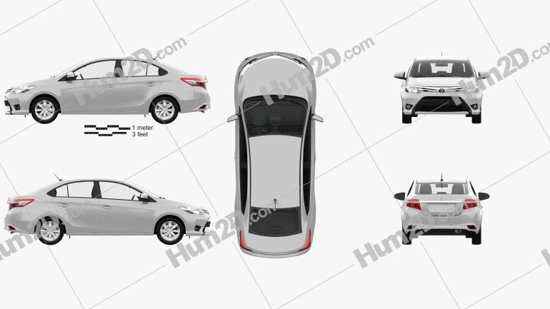Toyota Yaris sedan with HQ interior 2014 car clipart