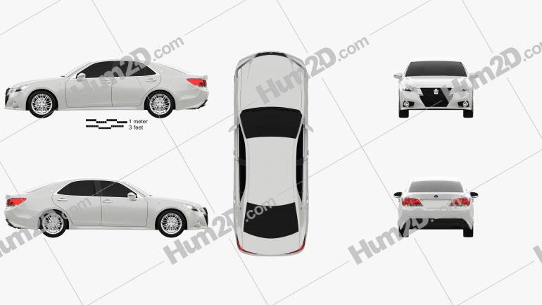 Toyota Crown Hybrid Athlete 2013 Clipart Image