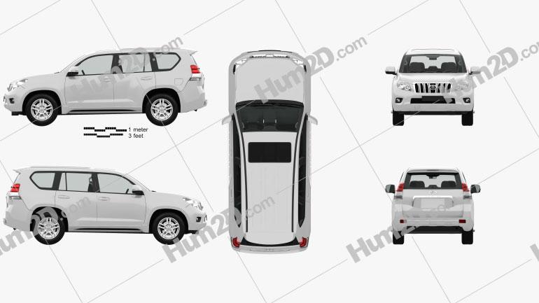 Toyota Land Cruiser Prado (J150) de 5 portas com interior HQ 2010 car clipart