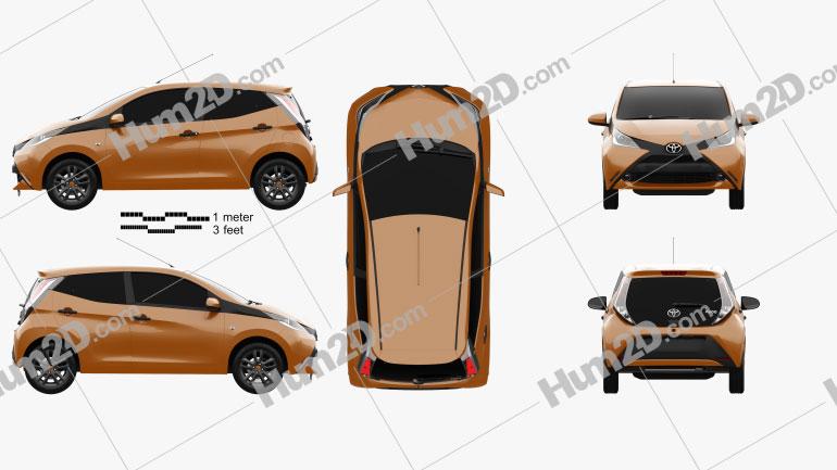 Toyota Aygo 5-türig 2014 car clipart