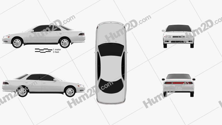Toyota Mark II (X90) 1992 Clipart Image