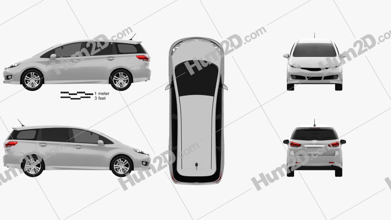 Toyota Wish 2009 Clipart Image