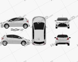 Toyota Yaris 5-door 2015 car clipart