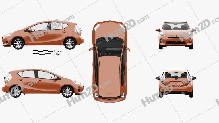 Toyota Prius C with HQ interior 2012 car clipart