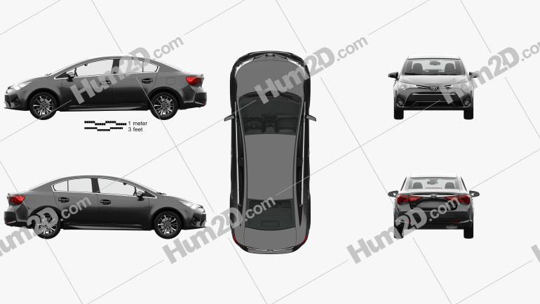Toyota Avensis (T270) sedan with HQ interior 2016 car clipart