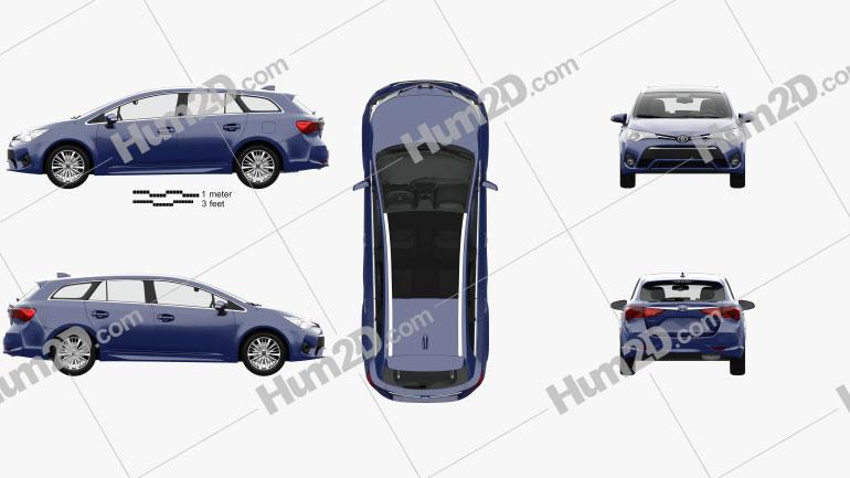 Toyota Avensis (T270) wagon com interior HQ 2016 car clipart