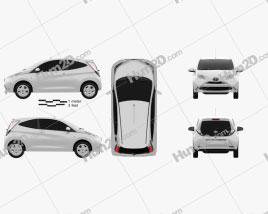 Toyota Aygo 3-door 2014 car clipart