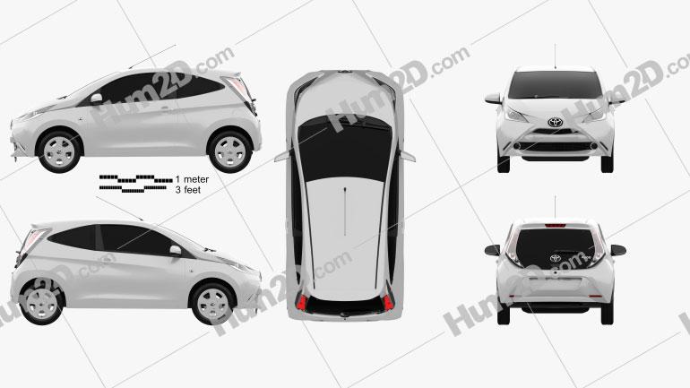 Toyota Aygo 3-türig 2014 car clipart