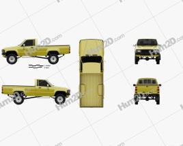 Toyota Hilux DX Long Body 1983 car clipart