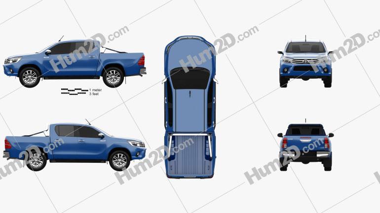 Toyota Hilux Double Cab SR5 2015 car clipart