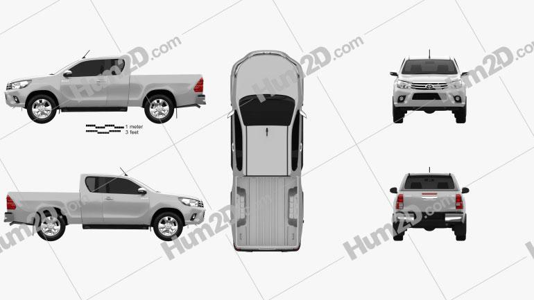 Toyota Hilux Extra Cab SR 2015 car clipart