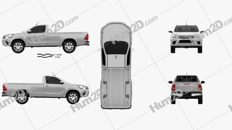 Toyota Hilux Single Cab SR 2015 car clipart