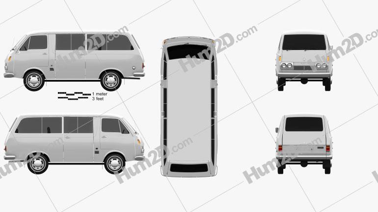 Toyota Hiace Passenger Van 1967 Clipart Image