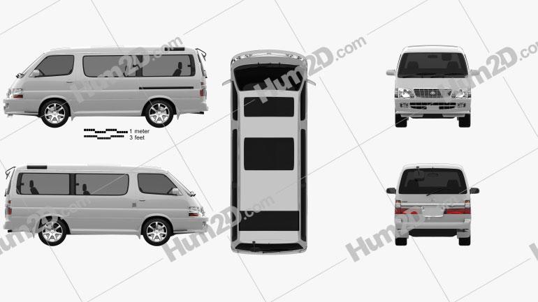 Toyota Hiace Passenger Van (JP) 1999 clipart