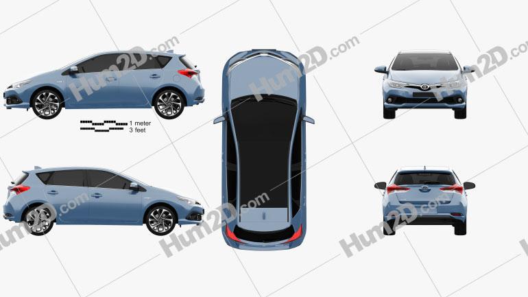 Toyota Auris hatchback Hybrid 2015 Clipart Image