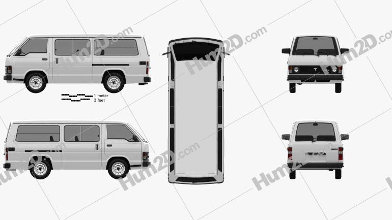 Toyota Hiace Passenger Van 1982 clipart