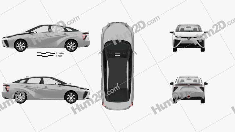 Toyota Mirai with HQ interior 2014 car clipart