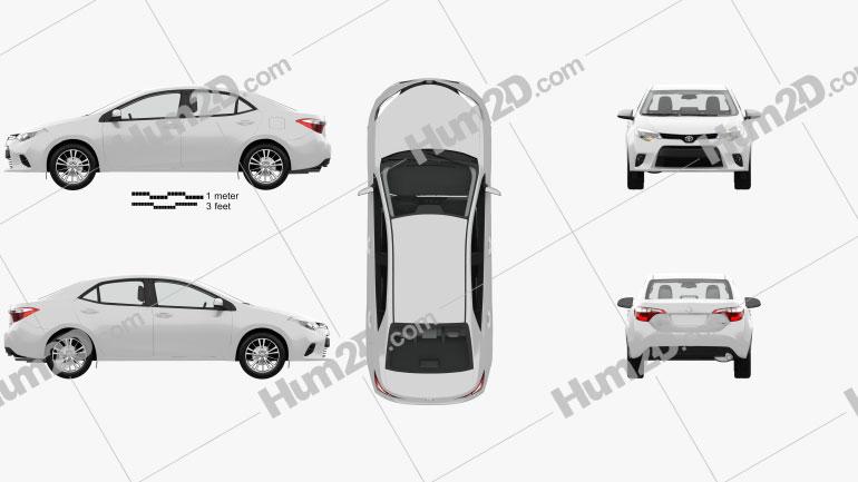 Toyota Corolla LE Eco (US) with HQ interior 2013 car clipart