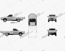 Toyota Hilux Single Cab Alloy Tray SR 2015 car clipart