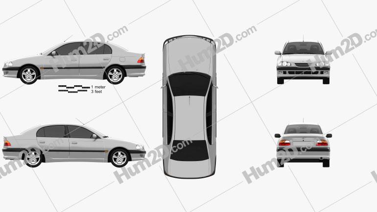 Toyota Avensis sedan 1997 car clipart