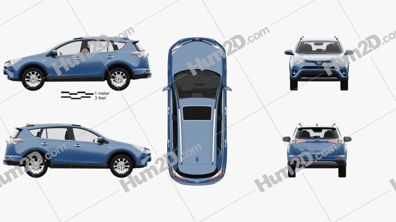 Toyota RAV4 Hybrid with HQ interior 2016 car clipart