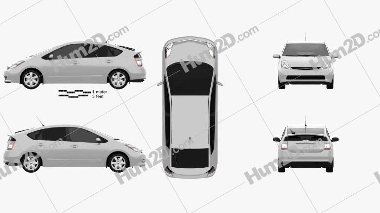 Toyota Prius base 2003 car clipart