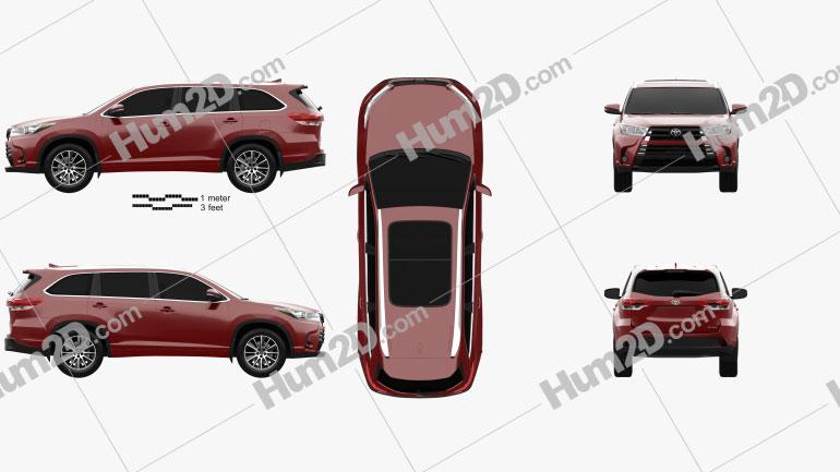 Toyota Highlander SE 2016 Clipart Image