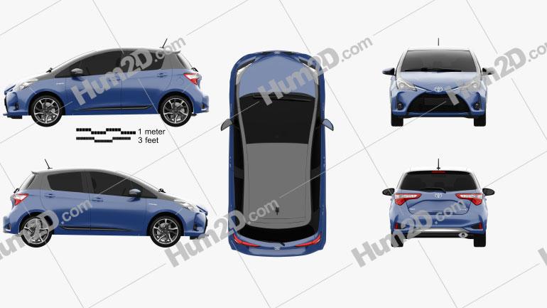 Toyota Yaris Hybrid Bi-Tone 2017 car clipart
