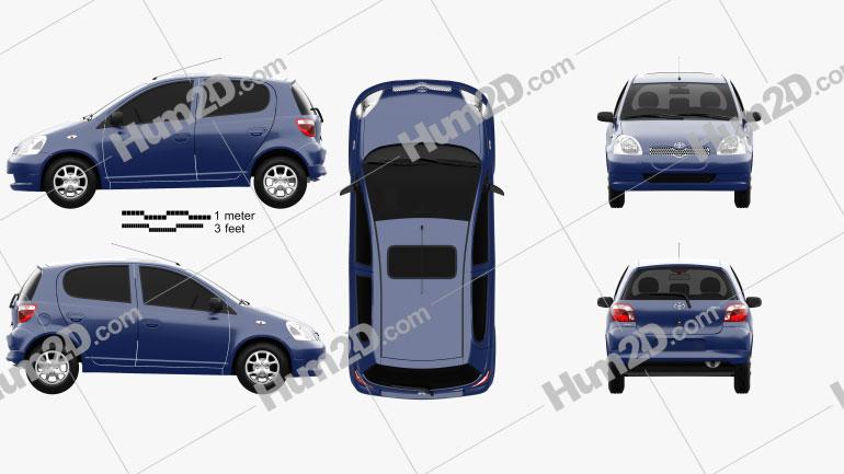 Toyota Yaris 5-door 1999 car clipart