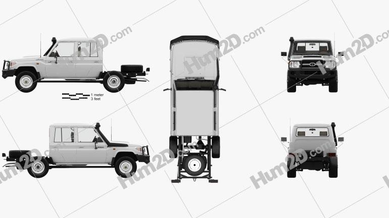 Toyota Land Cruiser (VDJ79R) Cabina dupla Chassis com interior HQ 2012 car clipart