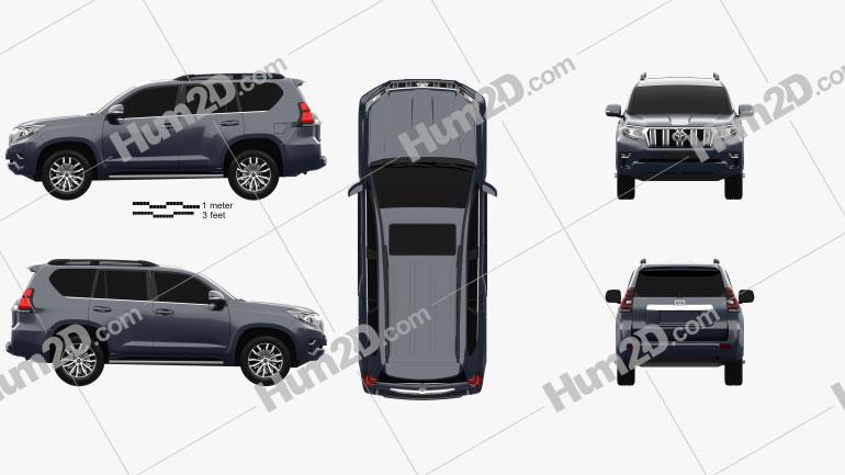 Toyota Land Cruiser Prado de 5 portas EU-spec 2018 car clipart