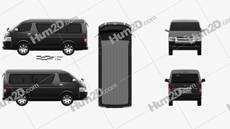Toyota Hiace Passenger Van L1H2 GL 2013 Clipart Bild