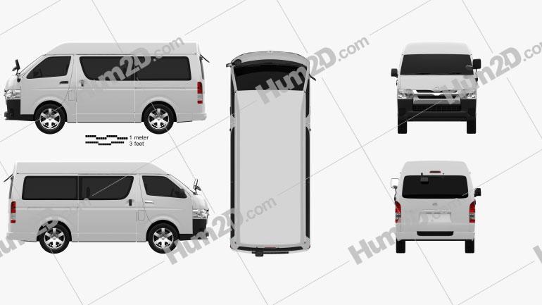 Toyota Hiace Passenger Van L1H3 DX 2013 Clipart Image
