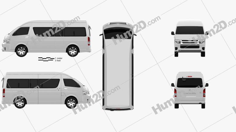 Toyota Hiace Passenger Van L2H3 GLX 2013 Clipart Image