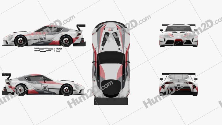 Toyota Supra Racing 2018 car clipart