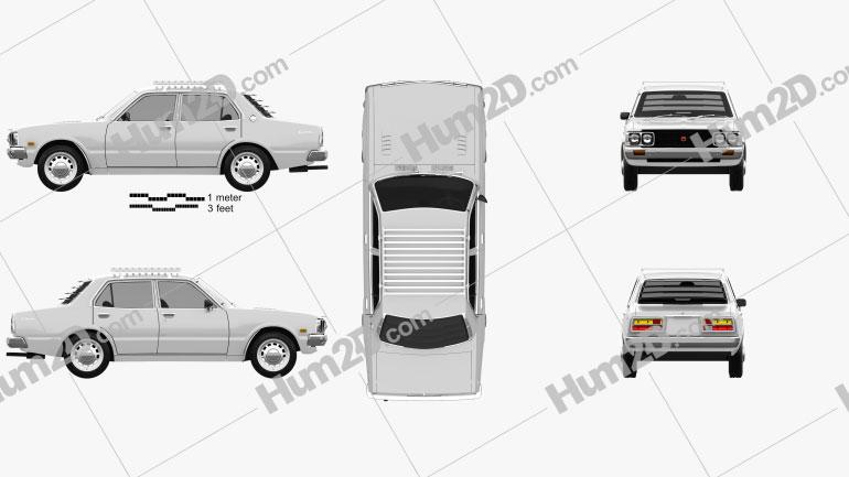 Toyota Corona sedan 1975 Clipart Image