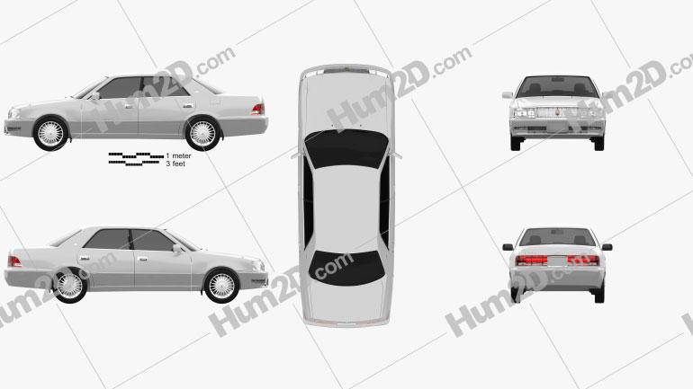 Toyota Crown hardtop 1997 car clipart
