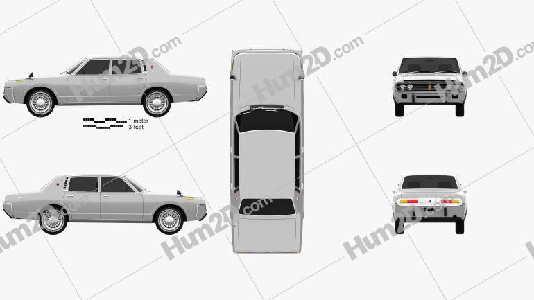 Toyota Crown sedan 1971 car clipart