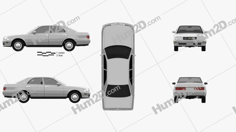 Toyota Crown 1993 car clipart