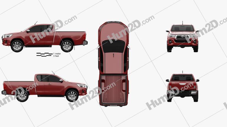 Toyota Hilux Extra Cab Raider 2019 Clipart Image