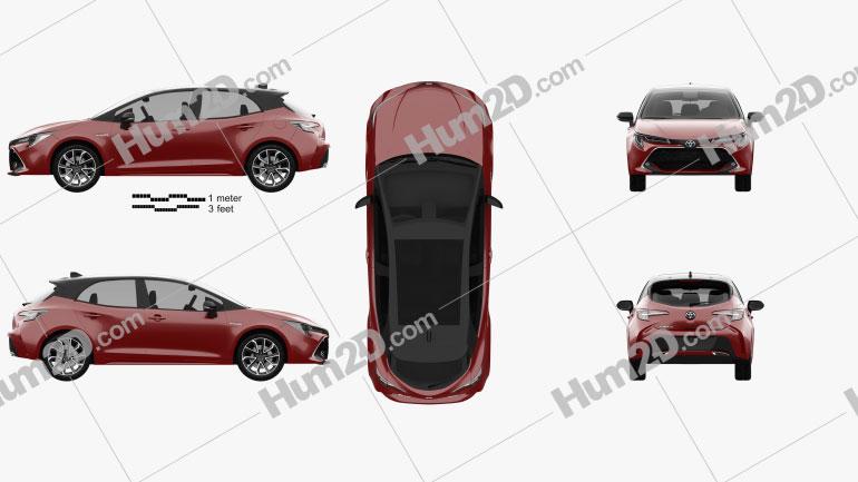 Toyota Corolla Schrägheck hybrid 2018 car clipart