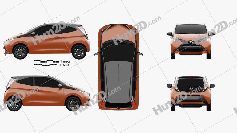 Toyota Aygo x-cite 3-türig 2014 car clipart