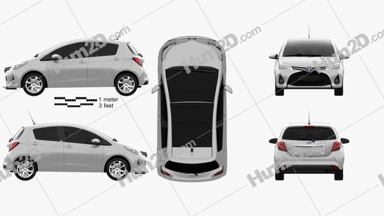 Toyota Yaris Hybrid 5-door 2015 car clipart